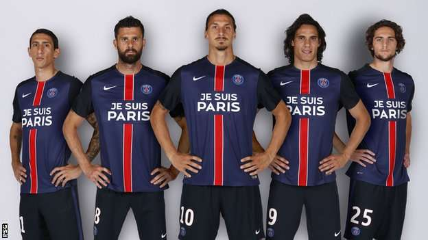 factory authentic db2e0 76a9f Zlatan Ibrahimovic and Paris St Germain show solidarity and ...