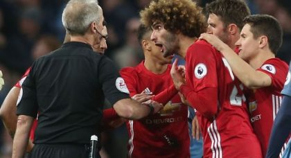Manchester City 0 Manchester United 0: war of attrition ends in stalemate – and a red card for Marouane Fellaini